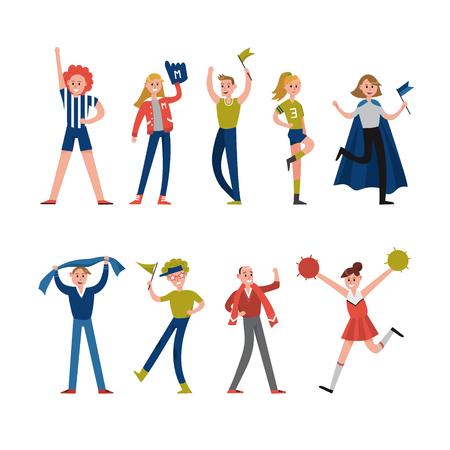 Sorridenti fan dello sport e personaggi dei tifosi. Supporto per illustrazioni vettoriali di sport di squadra