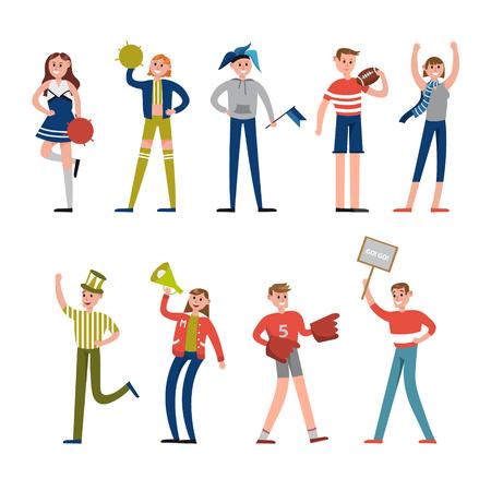 Felices deportistas y simpatizantes de personajes. Soporte para vector de equipo de béisbol Ilustraciones Ilustración de vector