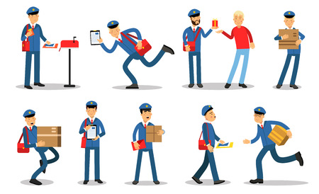 Postman characters in different situations set. Mailmen in different situations doing their job cartoon vector Illustrations