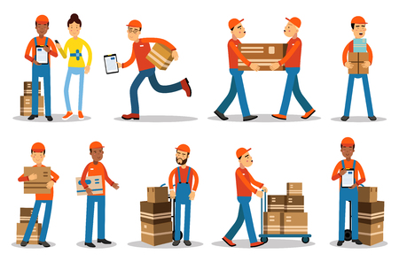 Delivery men characters. People shipping products vector Illustrations