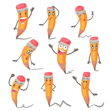 Cute cartoon pencil character facial expressions, emotions and hand gestures vector illustrations Illusztráció