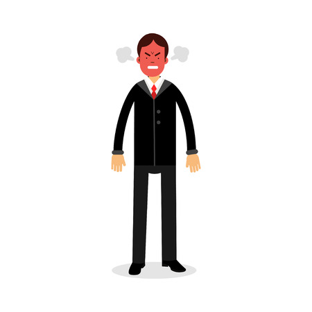 wrath: Angry man with red face blowing steam coming out of his ears vector Illustration