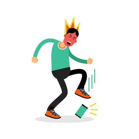tread: Man in a fury kicking his phone vector Illustration Illustration