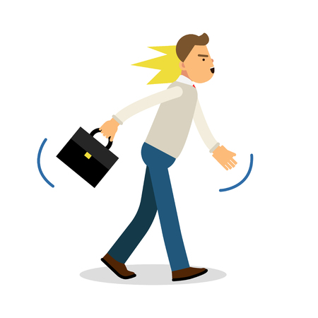 wrath: An angry man walking with a briefcase, upset stressed man vector Illustration Illustration