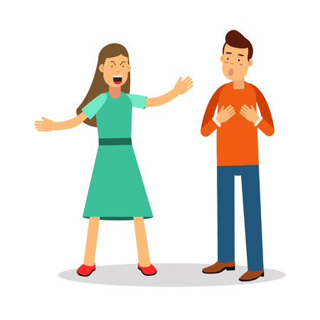 annoyed: Aggressive young woman woman shouting at man vector Illustration