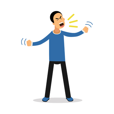 madness: An angry screaming man, upset stressed man vector Illustration