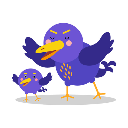 beak: Two cute cartoon blue birds characters vector Illustration Illustration