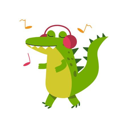 Funny cartoon crocodile character in headphones listening music and walking vector Illustration