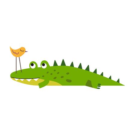Cute little bird sitting on a crocodile nose vector Illustration