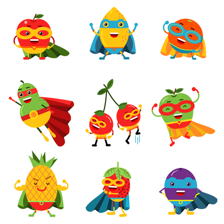 Superheroes fruits in different costumes set of colorful vector Illustrations