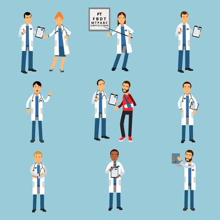 I giovani medici del praticante hanno messo, illustrazioni variopinte dettagliate del personale medico dell'ospedale Archivio Fotografico - 80123361