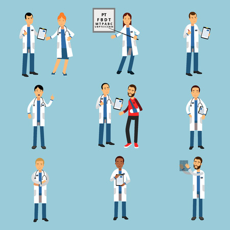 Practitioner young doctors set, hospital medical staff detailed colorful Illustrations