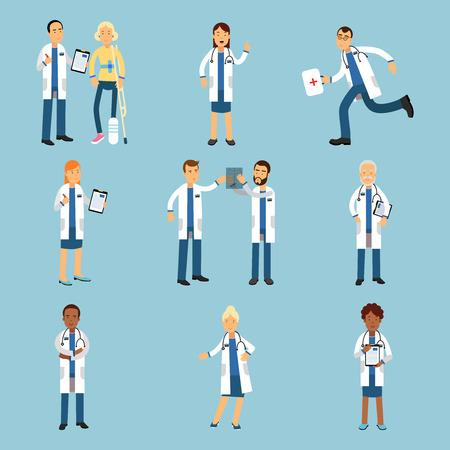 Hôpital personnel médical, ensemble de praticiens jeunes médecins illustrations colorées