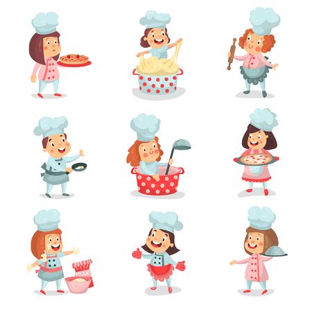 Leuke kleine kok hoofdkinderen cartoon karakters koken eten en bakken gedetailleerde kleurrijke Illustraties