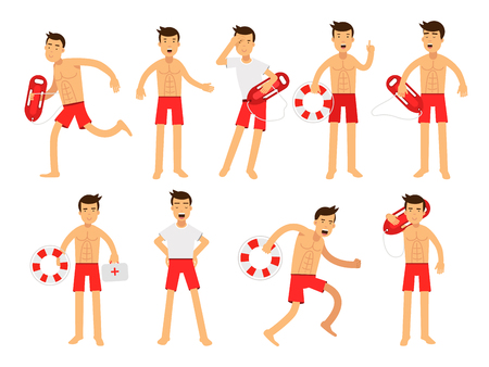 Young lifeguard man character doing his job set. Water rescue of colorful vector Illustrations