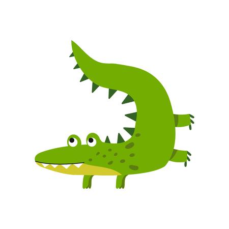 joyful: Funny cartoon crocodile character, friendly reptile vector Illustration