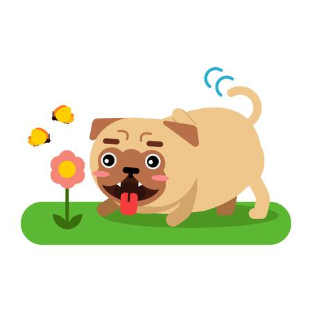 Funny pug dog character walking in the park vector Illustration Illustration