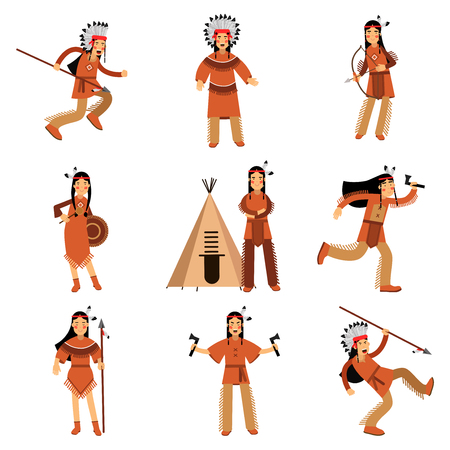 Native american indians characters in traditional clothing with weapons and other cultural objects detailed colorful Illustrations
