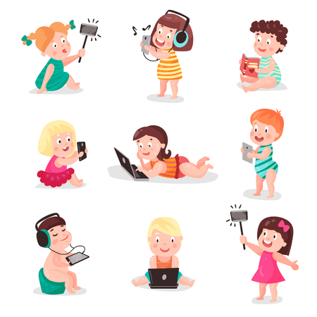 Children watching, listening, photographing and playing with electronic devices, colorful vector Illustrations Illustration