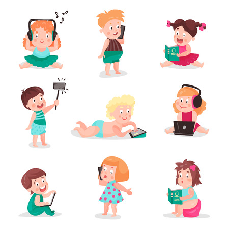 Kids watching, listening, photographing and playing with electronic devices, colorful vector Illustrations