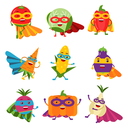 Superheroes vegetables in different costumes set of colorful vector Illustrations Illustration