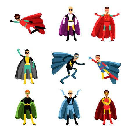 Male superheroes in different costumes set of colorful vector Illustrations 일러스트