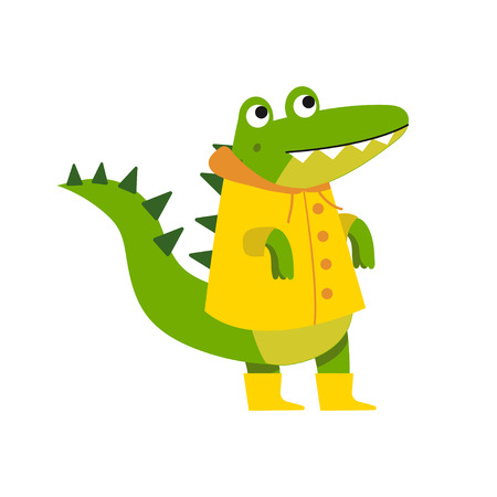 Cute cartoon crocodile character walking wearing yellow raincoat and rubber boots vector Illustration