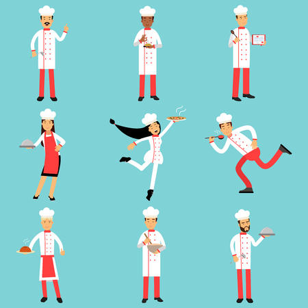 Professional kitchen staff characters at work. Chief cooks and bakers set of colorful Illustrations