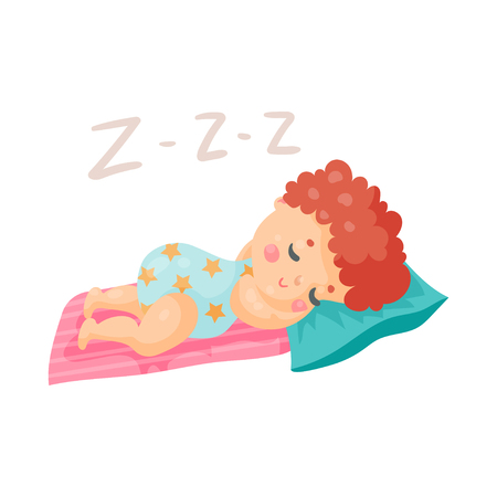 Cute cartoon baby in a blue bodysuit sleeping in his bed colorful character vector Illustration
