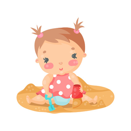 baby playing toy: Cute cartoon baby girl playing with sand colorful character vector Illustration