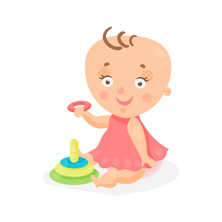 baby playing toy: Adorable cartoon baby girl in pink dress playing with pyramid colorful character vector Illustration