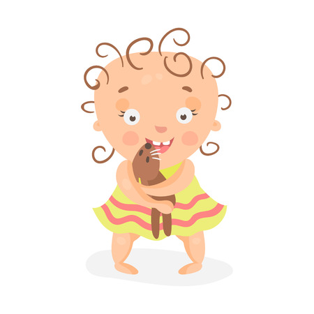 baby playing toy: Cute cartoon curly baby girl in yellow dress playing with teddy bear colorful character vector Illustration