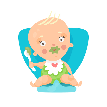 Adorable cartoon baby sitting on blue chair and eating, colorful character vector Illustration