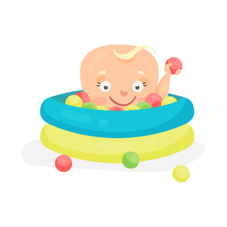 Cute cartoon baby playing in a pool with colorful balls, colorful character vector Illustration