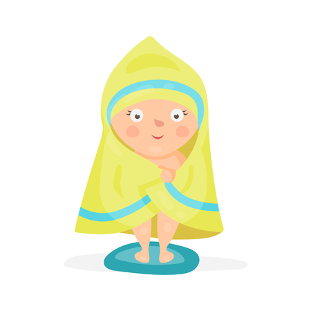 Sweet cartoon baby wrapped in a yellow towel after taking a bath colorful character vector Illustration