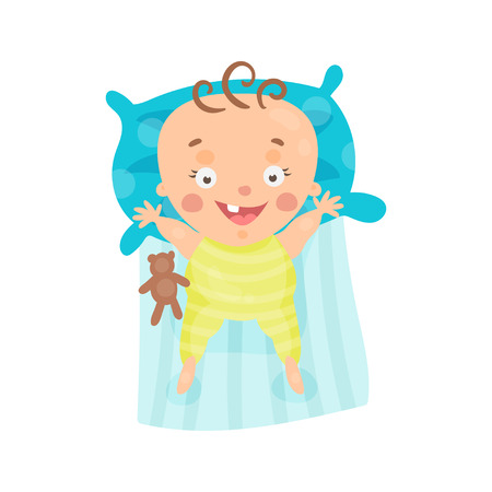 Cute cartoon smiling baby lying in his bed colorful character vector Illustration