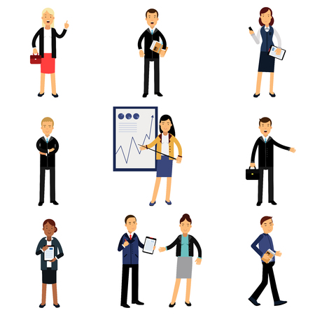 Businessmen in suits set, office employees characters vector Illustrations