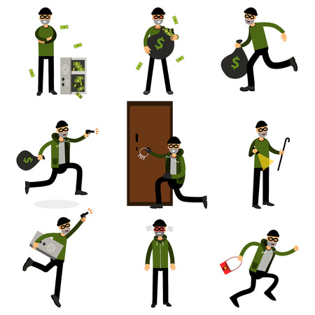 Burglars committing crimes set, sneaking thiefs vector Illustrations