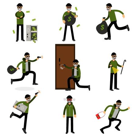 Les cambrioleurs qui commettent des crimes ensemble, sneaking thiefs vector Illustrations