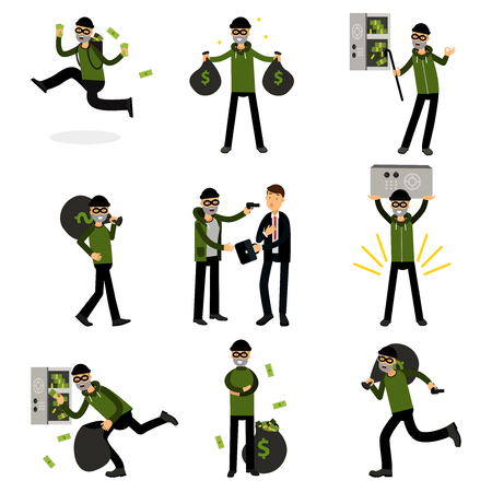 Sneaking thiefs set, burglars committing crimes vector Illustrations