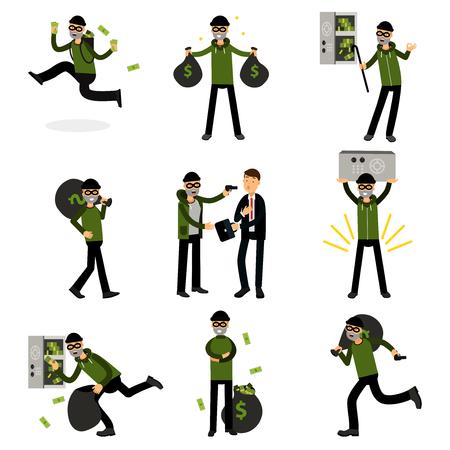 Sneaking thiefs set, burglars committing crimes vector Illustrations