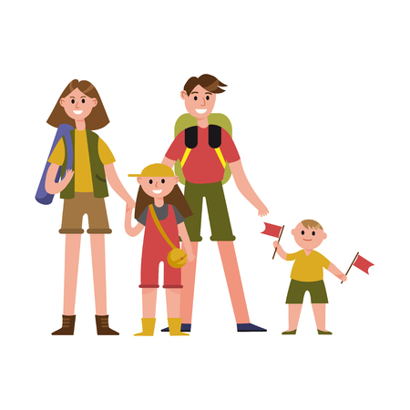 Happy parents with kids on summer vacations cartoon characters, camping travel vector Illustration Иллюстрация