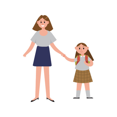 first day: Mother taking her daughter to school cartoon characters, happy mom with her child vector Illustration Illustration