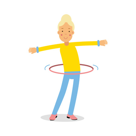 Cute blonde teenager girl spinning a hula hoop around the waist cartoon character, kids physical activities vector Illustration Illustration