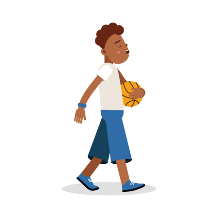 little one: Cute young boy playing basketball cartoon character, kids physical activities vector Illustration