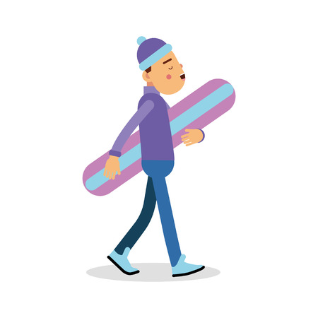 Young boy walking with snowboard cartoon character, winter sports vector Illustration