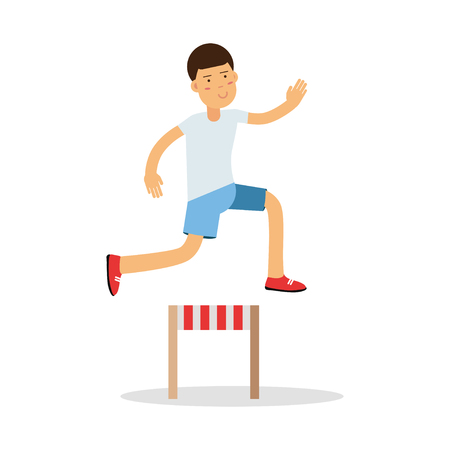 Active boy jumping hurdle cartoon character, kids physical activities vector Illustration Illustration