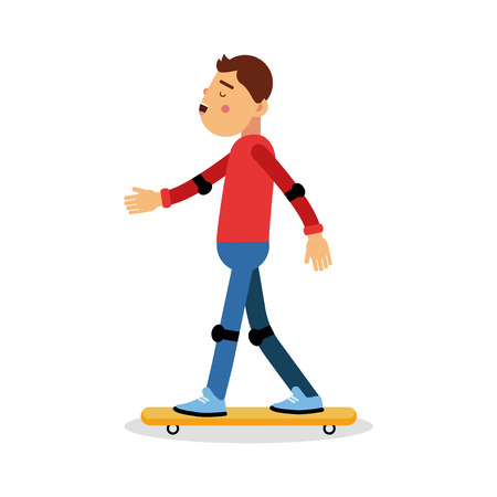 Young boy skateboarding cartoon character, kids physical activities vector Illustration