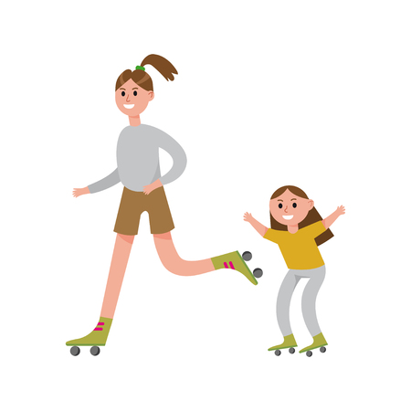 Smiling mother with her daughter roller skating cartoon characters, happy family playing sports together vector Illustration Illusztráció