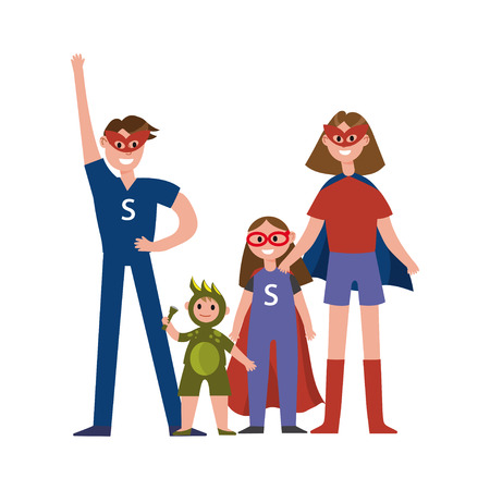 Family of superheroes cartoon characters, parents with their kids in costumes of superheroes having fun vector Illustration Stock Vector - 80763427
